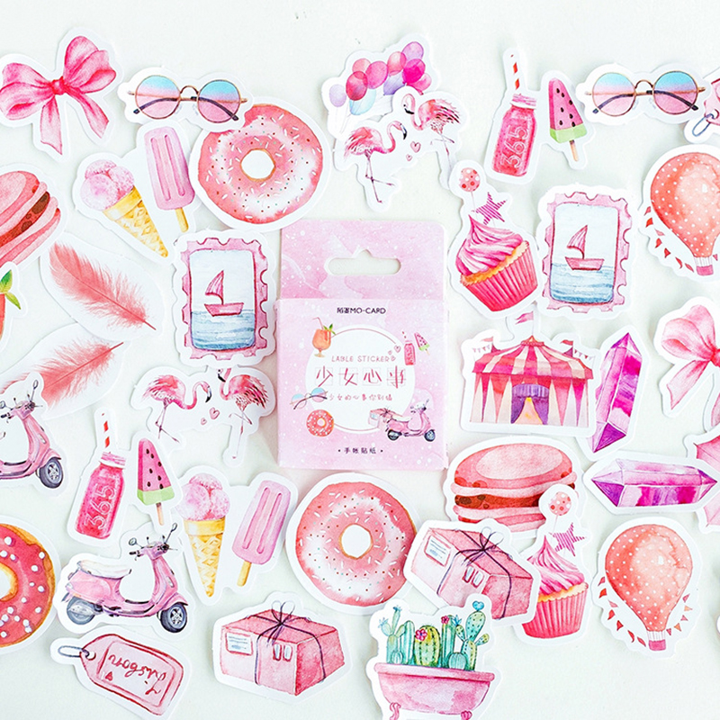 46 Pcs/ Box Pink Girl Heart Feather Balloon Mini Paper Sticker Decoration DIY Diary Scrapbooking Seal Sticker Kawaii Stationery