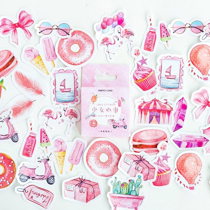 46 Pcs/ Box Pink Girl Heart Feather Balloon Mini Paper Sticker Decoration DIY Diary Scrapbooking Seal Sticker Kawaii Stationery