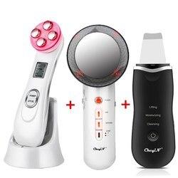 Máquina limpiadora y peladora Facial Ultrasoic Skin Scrubber + RF EMS masajeador Facial ligero LED + cuerpo de infrarrojos lejanos que adelgaza la grasa Burner46