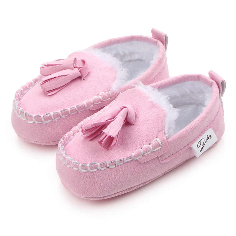 מוצק החלקה חם תינוק נעלי חורף תינוקת ילד ShoesToddler יילוד תינוק לראשית הליכונים ציצית קטיפה תינוקות נעלי
