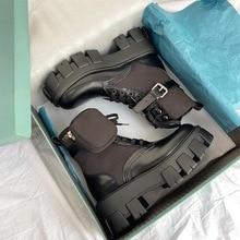 MONMOIRA-Botas de plataforma Punk para mujer, Botines negros con tacón grueso, hebilla de cinturón, zapatos de diseñador de bolsillo
