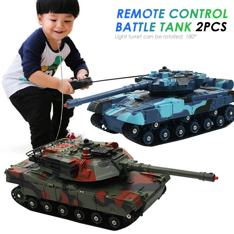 2PCS RC Tank Battle Crawler Car Remote Radio Control Panzer Armored Vehicle Children Electronic Toys For Boys Kids Gifts XMAS