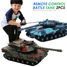 2PCS RC Tank Battle Crawler Car Remote Radio Control Panzer Armored Vehicle Children Electronic Toys for Boys Kids Gifts XMAS(China)