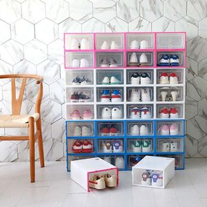 Image 3 - 6Pcs Plastic Shoe Box Stackable Foldable Shoe Organizer Drawer Storage Case with Flipping Clear Door Ladies Men 31.5x21.5x12.5cm