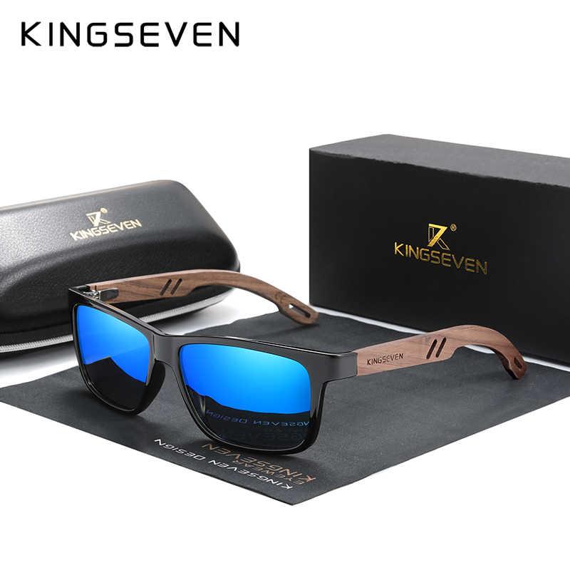 Kingseven óculos de sol de madeira, óculos de sol masculino polarizado, com dobradiça reforçada, tr90 + noz