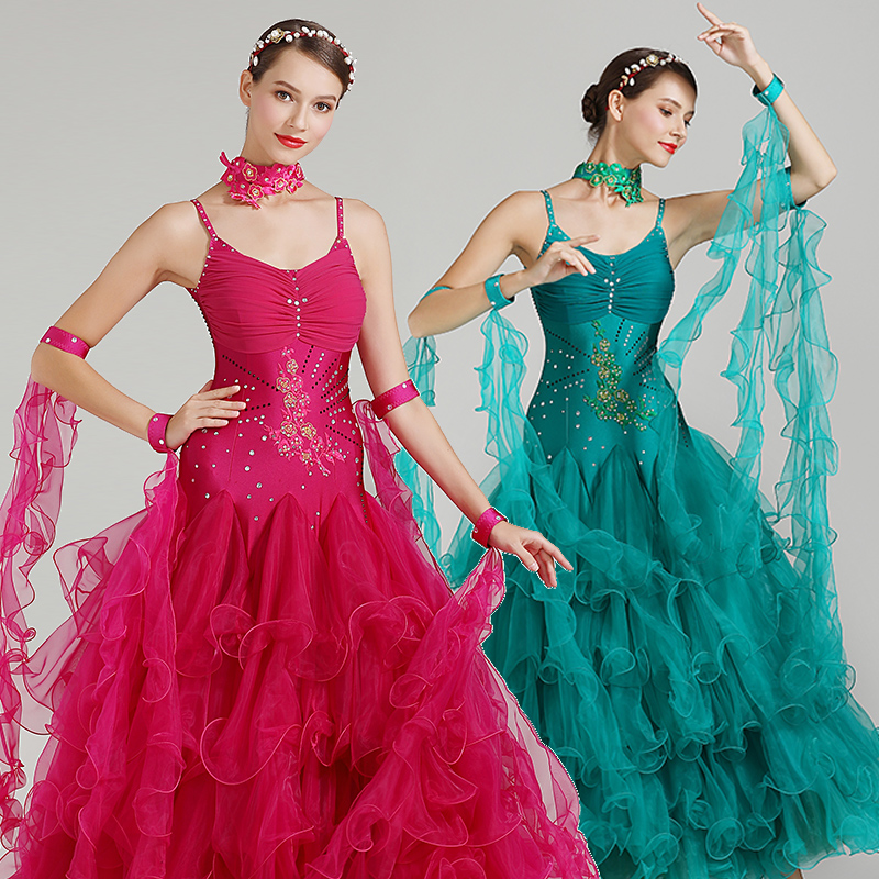 New Ballroom Dance Competition Dresses Figure Skating Dress Three Colors Drag Queen Costumes Rave Standard Dance Dresses DQS3733