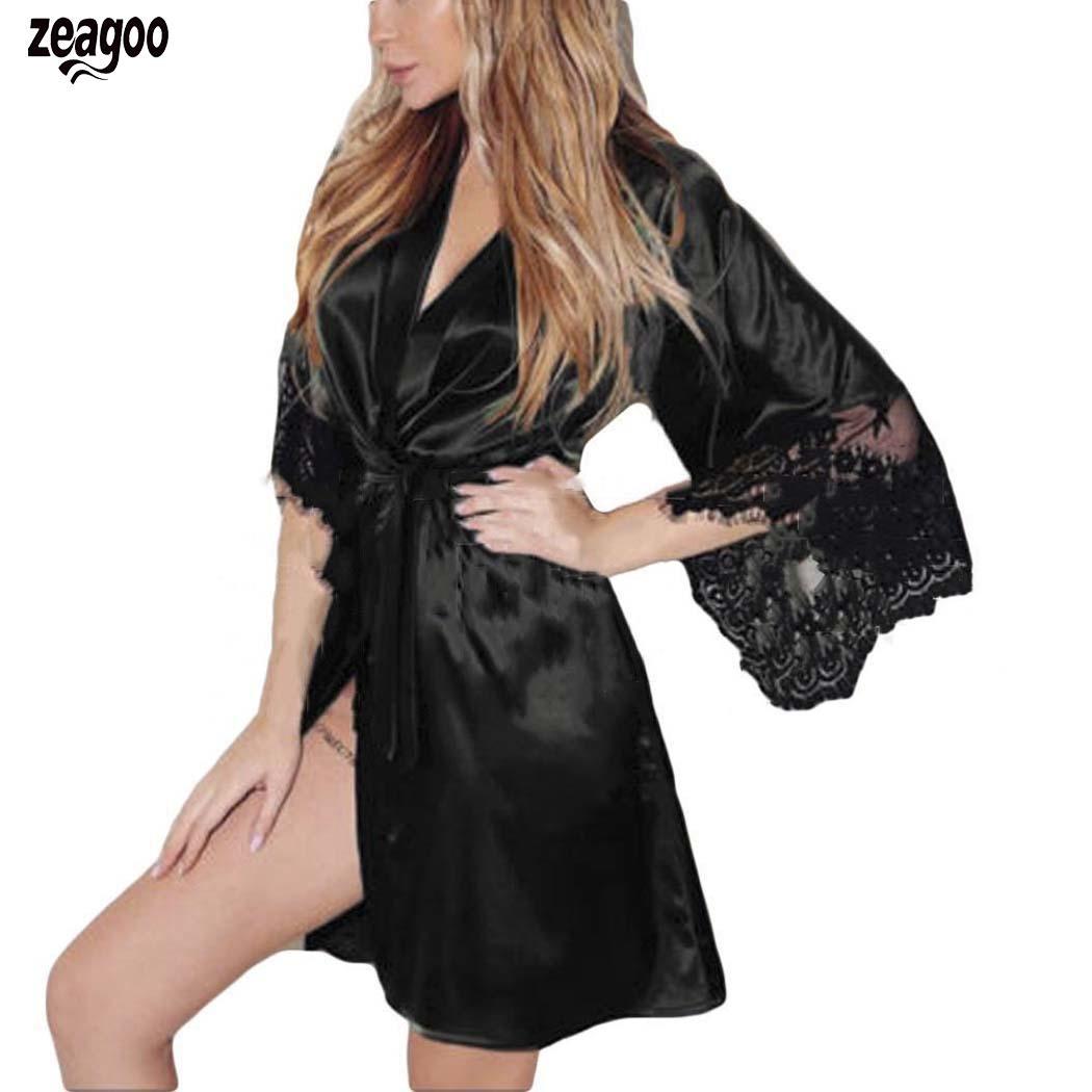 Women Solid Silk Lace Lingerie Belt Bathrobe Sexy V Neck Babydoll Sleepwear All Seasons Mini Casual