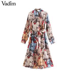 Image 2 - Vadim women elegant print midi dress bow tie collar sashes long sleeve female office wear stylish casual mid calf dresses QC896