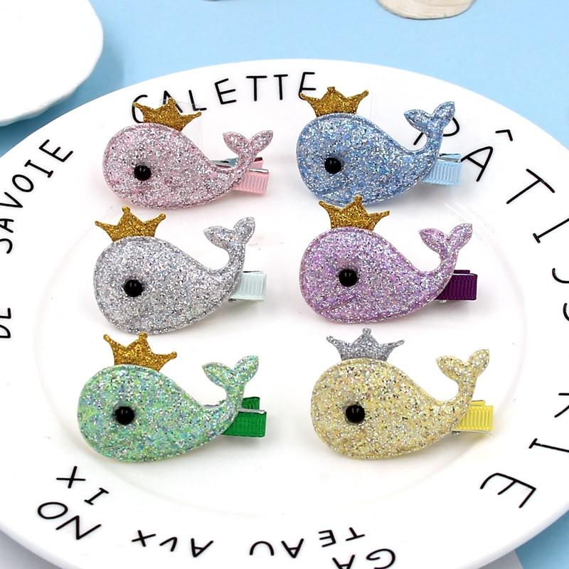 2PC Lovely Cartoon Whale Crown Children's Series Sequin Hair Grips Sweet Girls Hair Pins Hair Accessories HeadWear