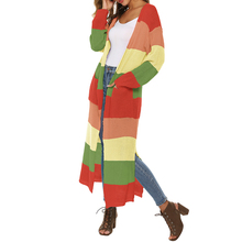 2019 Hot Womens Multicolor Lightweight Cardigan Sweater Boho Color Block Oversized Knitted Casual Autumn Outwear