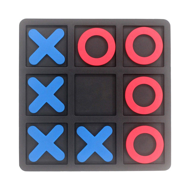 Noughts And Crosses Educational Puzzle Kids Children Wooden Board Games Indoor Playing Tic-tac-toe Noughts Family 3