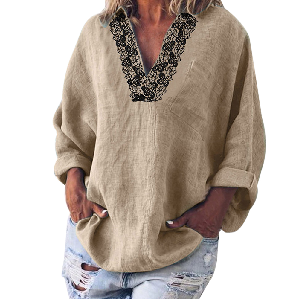 2020 Spring New Fashion Women's Long Sleeve Blouses Female Solid Color Casual Lace V-Neck Shirts Tops Plus Size 5XL Ladies Blusa