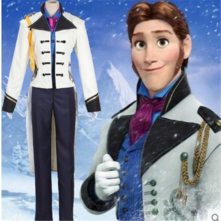 Halloween Mens Prince Hans Costume Snow Prince HANS Suits Role Play Full SET With Scarves Any Size