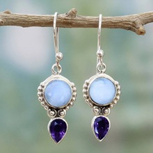 Bohemia Moonstone Dangle Earrings Women Water drop Silver Vintage Ethnic Indian Jewelry Hook Earing