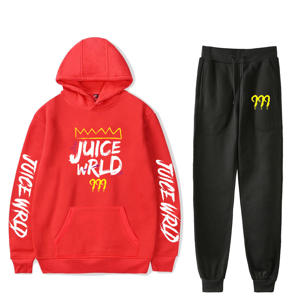 Juice Wrld Fall Winter Two-piece Sets Warm Popular Outfits Casual 2 Piece Set For Women Men Long Sleeve Pants Set