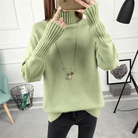 14 цветов,, осенне-зимний свитер, Женский вязаный свитер с высоким воротом, повседневный мягкий модный тонкий женский эластичный пуловер NS9097 - Цвет: Зеленый