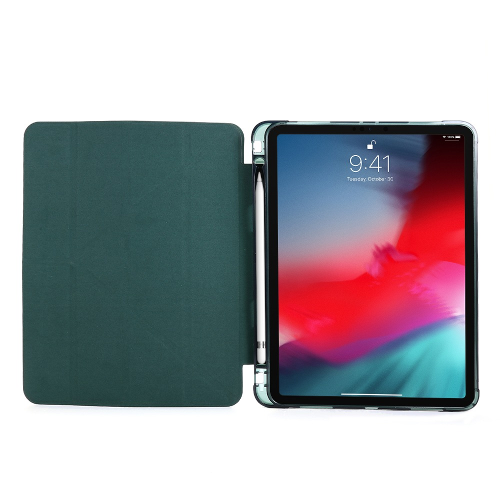 For Case Folding Funda Tablet PU Leather Cover Pro Case 2020 iPad 2018 Protective 12.9
