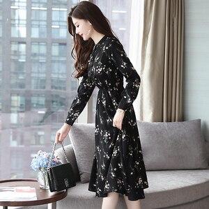 Image 4 - Jesień zima czarny Vintage, w kwiaty szyfonowa sukienka Midi Plus rozmiar sukienki w stylu Boho 2020 eleganckie kobiety strona z długim rękawem sukienka Vestidos