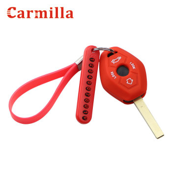 Silicone Car Key Case Cover Key Chain with Phone Number for BMW X3 X5 Z3 Z4 3 5 7 SERIES E38 E39 E46 E83 1998 - 2005 image