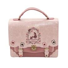 Alicia en el país de las Maravillas bolsos de hombro ejes Japón bolsa Lolita Vintage estudiante mochila naipes bolso con silueta bolsa de cuero