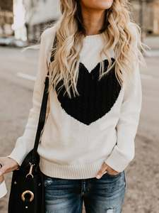 Loose Sweater Pullover Jumpers O-Neck Long-Sleeve Heart-Knitted Slim Autumn Winter Casual