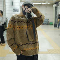 Winter Sweater Men Warm Fashion Retro Print Casual Knit Sweater Man Sweter Clothes Wild Loose Long-sleeved Pullover Men M-2XL