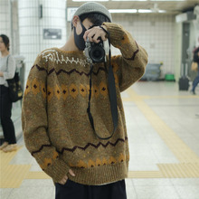 Winter Sweater Men Warm Fashion Retro Print Casual Knit Man Sweter Clothes Wild Loose Long-sleeved Pullover M-2XL