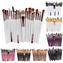 20 makyaj fırçası seti profesyonel plastik saplı yumuşak sentetik saç pudra fondöten göz farı makyaj fırçalar kozmetik
