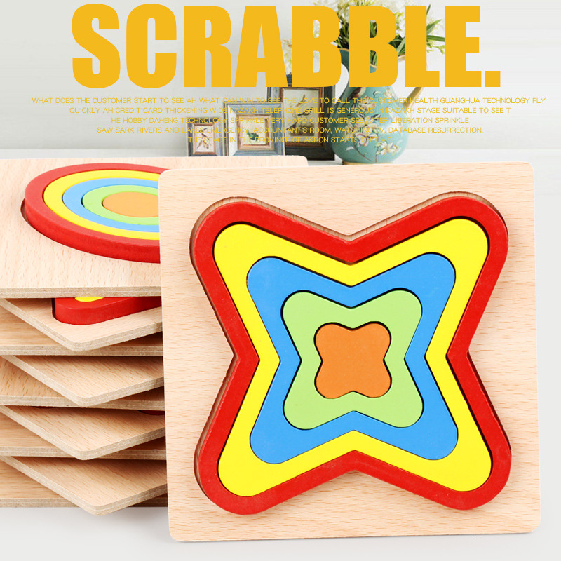 Wooden Toys child Montessori Geometry Shape Cognition Board Baby Early education Learning Matching sensory Toys(China)