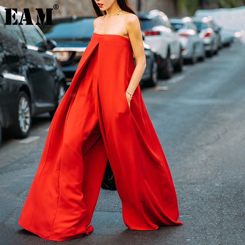 [EAM] Loose Fit Women Long Pleated  Wide Leg  Jumpsuit New High Waist Pocket Stitch  Pants Fashion  Spring Autumn 2020 JW879