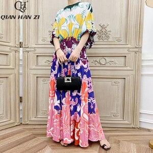 Image 2 - Qian Han Zi vestido largo plisado de manga larga para mujer, Vestido largo de marca de diseñador de otoño a la moda de pasarela, estampado Vintage para playa, 2019