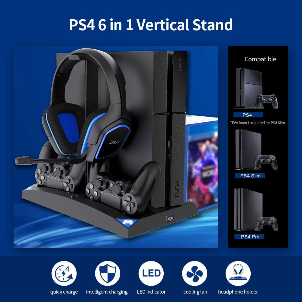 IPEGA gra pionowy stojak 6 w 1 wielofunkcyjny wentylator uchwyt na słuchawki ładowarka do pada podstawa na PS4/PS4 Slim/PS4 PRO