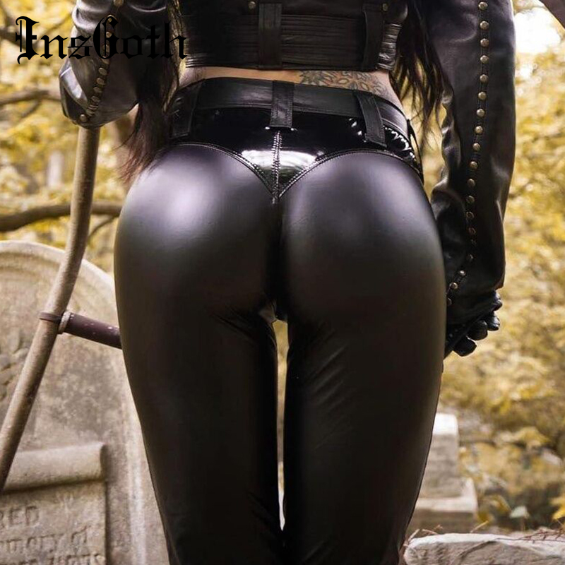 InsGoth PU Leather Pants Women High Waist Gothic Punk Streetwear Female Pencil Pants Leather Leggings Lady Stretch Long Trousers