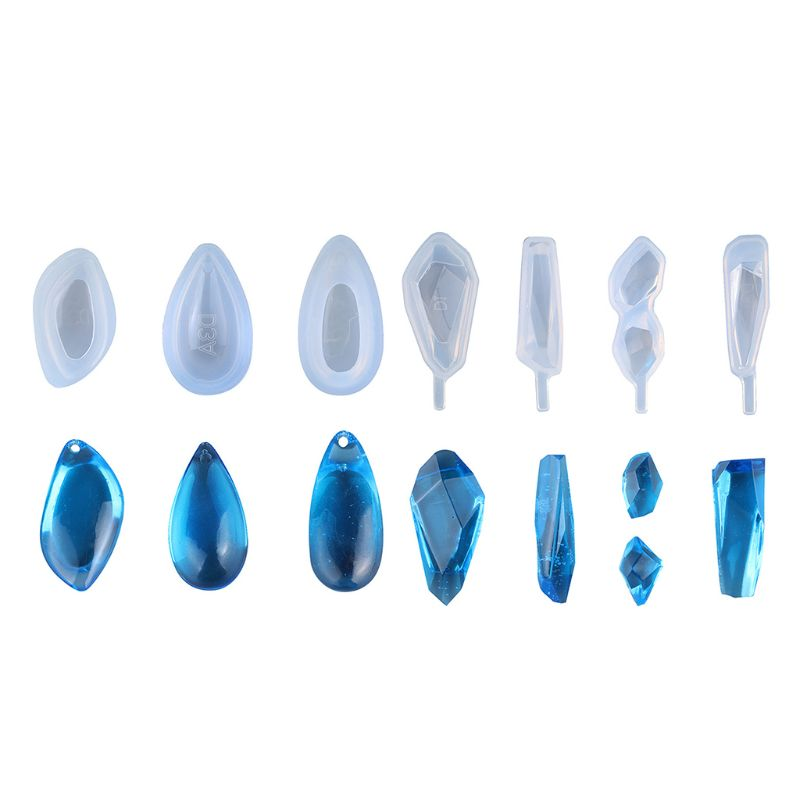 7 Pack Clear Silicone Molds DIY Resin Jewelry Making Necklace Pendant Ring Penda