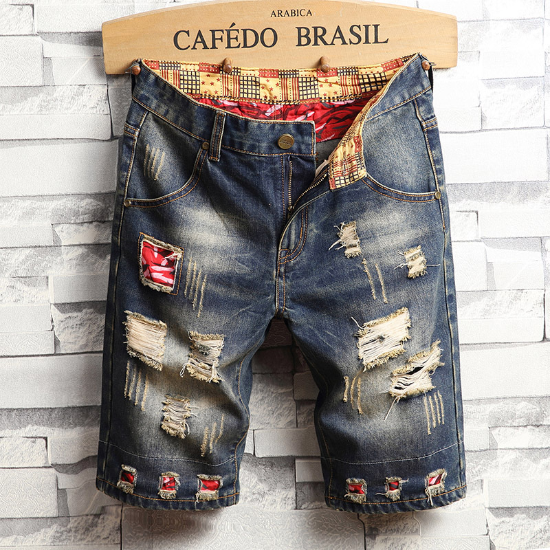Shorts Men's Summer With Holes Jeans Patch Revers Retro Short In Pants Diao Mo Tattered Ripped Jeans