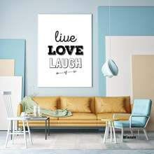 Nordic letter canvas paintings and prints laugh love live waterproof