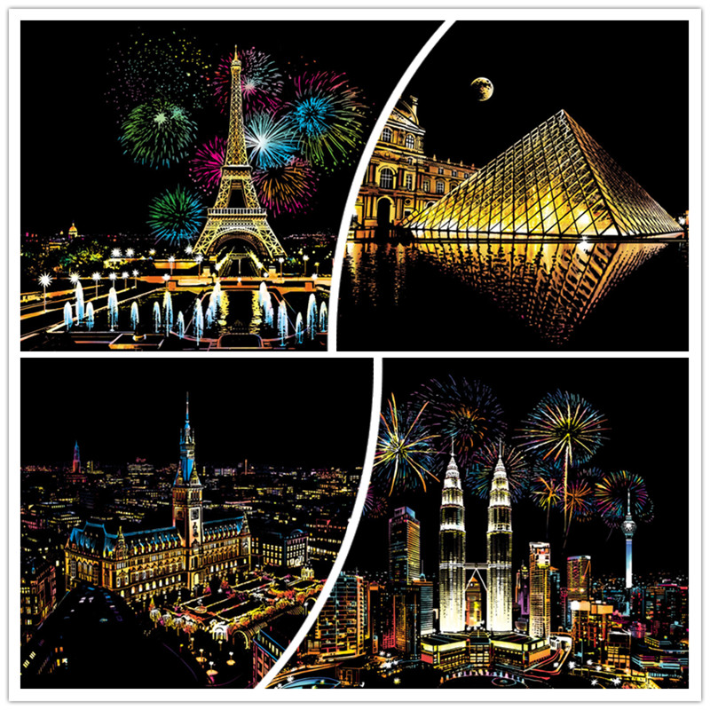 41*28 Cm Magic Scratch Art Crafts World City Scraping Paintings Decorative Paper Adult Kids Decompression Toys Creative DIY Gift