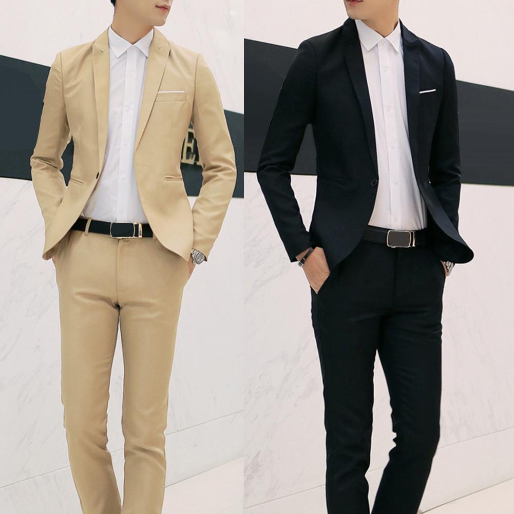 2Pcs Office Business Men Solid Color Lapel Long Sleeve Slim Blazer Pants Suit Quality Suits For Men Business Formal Party