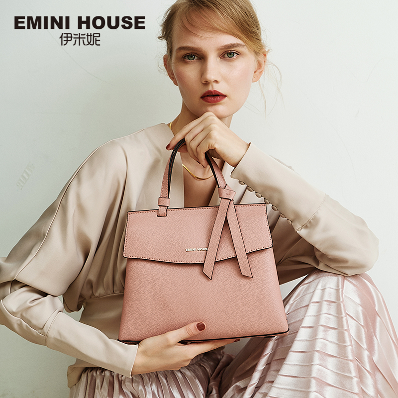 EMINI HOUSE 2 Sizes Bow Tie Luxury Handbags Women Bags Designer Litchi Grain Split Leather Shoulder Bag Crossbody Bags For Women