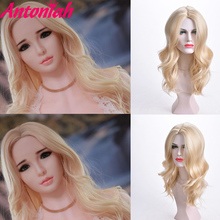 Wavy Wig Synthetic-Costume Cosplay Party-Wigs Blonde Curly Middle-Part Natural Women