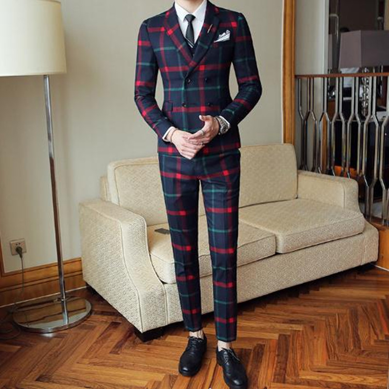 55.1 3,,89.99,Plaid Wedding Suit 2020 Fashion Check Suit Men Vintage Prom Banquet Suit Men Slim Fit Double Breasted Suit Jacket Vest Pant