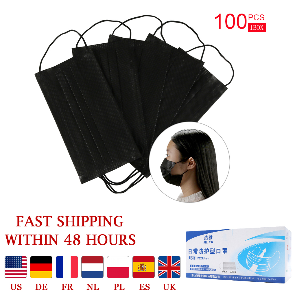 20/50/100 Pcs Solid Color Face Mouth Mask Non Woven Disposable Earloops Masks