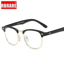 RBRARE Square Nail Glasses Frame Unisex Transparent Flat Mirror Sunglasses Brand Designer Big Retro Trend Optical