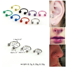 1pcs Fashion Stainless Steel Round Beads Fake Nose Ring C Clip BCR Septum Lip Piercing Falso Nose Rings Hoop for Women Men