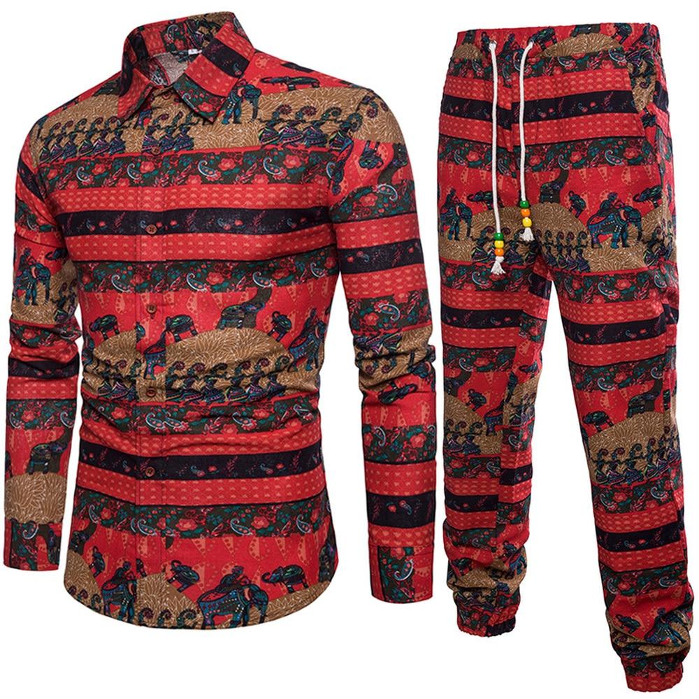 Floral Printing Style Men's Floral 2pcs Sets Flower Long Sleeve Shirts+Vintage Pants Breathable Beach Bohemia Plus Size 5XL