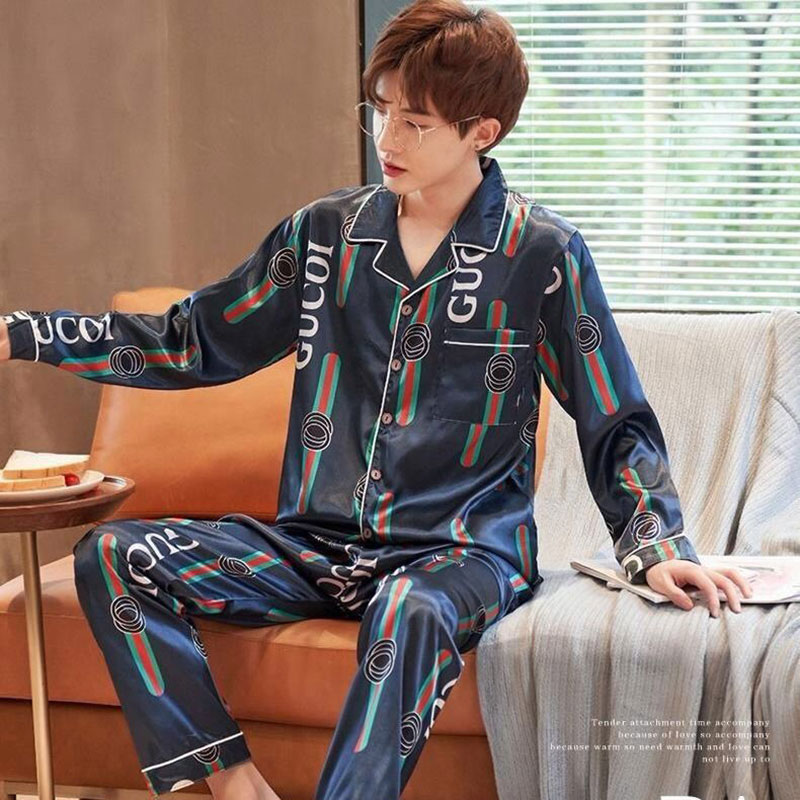 Summer Men's Pajamas Long-sleeved Thin Ice Silk Spring And Autumn Two-piece Suit Imitation Silk Summer Men's Health Home Service