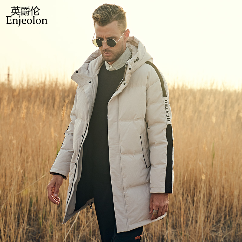 Enjeolon Winter Jacket Men Brand Fashion Casual Thick Warm Mens Coats Long Parkas Hooded Overcoats Male Clothes Plus Size YR934