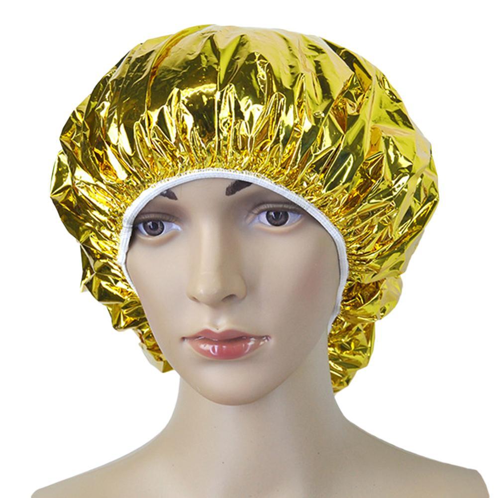 Shower Cap Heat Insulation Aluminum Foil Insulation Hat Elastic Bathing Cap For Women Hair Salon Bathroom Hairdressing Salon