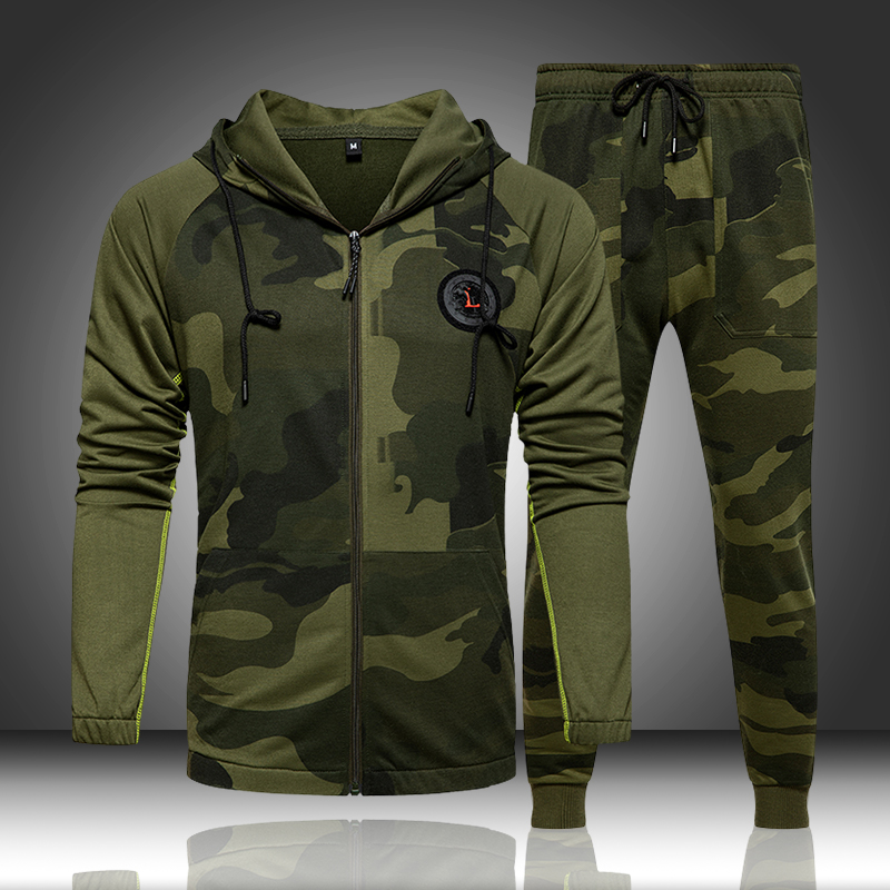 Camouflage hommes survêtement vêtements dextérieur à capuche à capuche ensemble 2 pièces automne sport mâle Fitness Camouflage sweats veste + pantalons ensembles