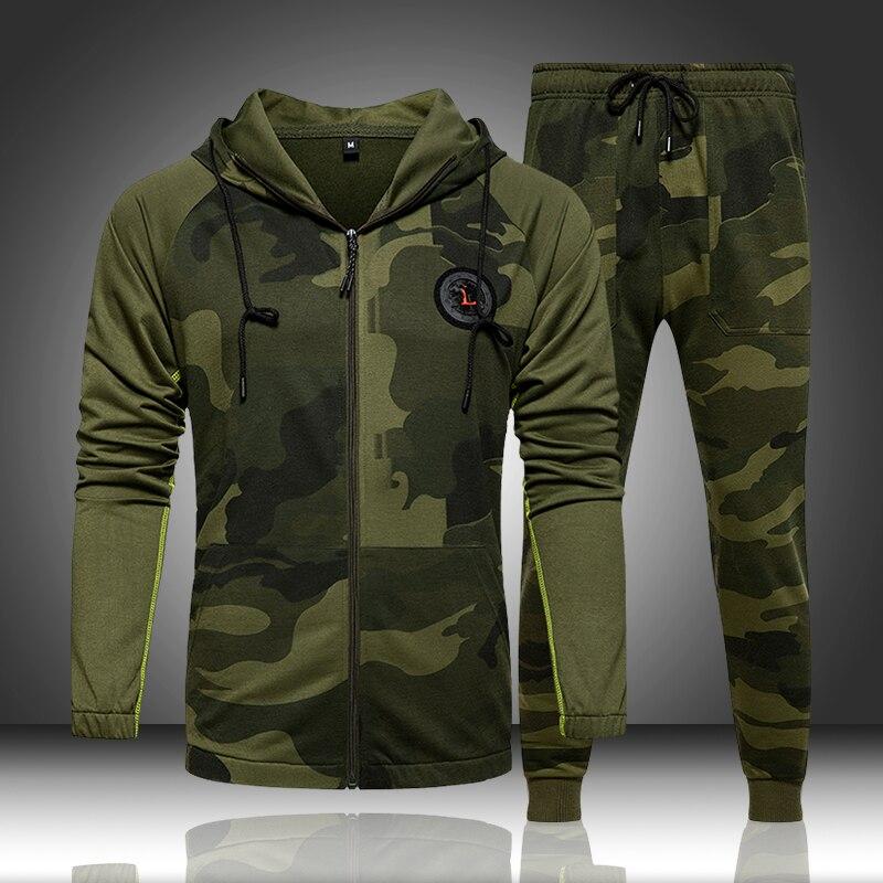Camo conjunto agasalho com capuz masculino, conjunto de 2 peças agasalho com capuz casaco fitness outono esporte masculino camuflagem jaqueta + calça